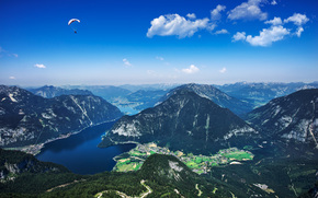 Hallstatt, Austria, Lago di Hallstatt, Alpi, Montagne, vista dalla cima, paesaggio