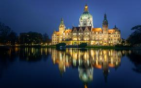 Nuevo Ayuntamiento, Maschpark, Hanover, Baja Sajonia, Alemania, Hanover, Baja Sajonia, Alemania, Casa de ayuntamiento, parque, estanque, reflexión
