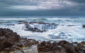 Thor's Well, Cape Perpetua, Pacific Ocean, Oregon, Врата в подземелье, Мыс Перпетуя, Тихий океан, Орегон, колодец, океан