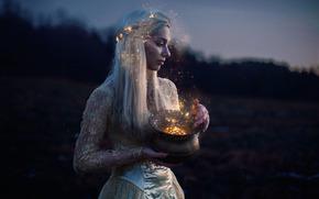 girl, magic, lamp, mood, situation