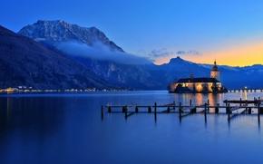 Gmunden, Traunsee, Austria, tramonto, Montagne, paesaggio