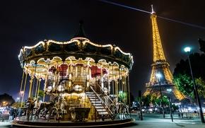 París, foantsiya, noche, Torre Eiffel, parque, Carruseles