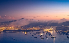 China, city, Hong Kong, sunset, panorama