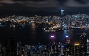 China, city, Hong Kong, panorama, night