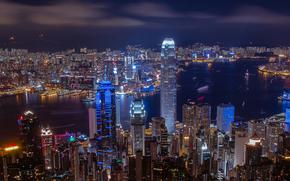 panorama, night, China, city, Hong Kong