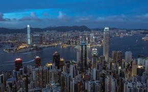China, city, Hong Kong, panorama