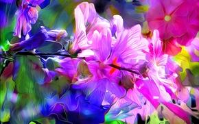 цветы, 3d, art, фон
