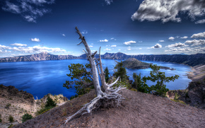 Crater Lake National Park, Oregon, озеро, пейзаж