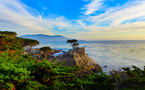 Lone Cypress, Pebble Beach, California, sea, sunset, landscape