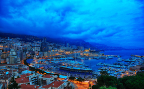 city, Monaco, Monte Carlo, evening, sunset, sea, port, Yacht, ships, home, lights, landscape, panorama, Monaco