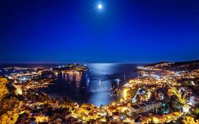 Villefranche sur Mer, French Riviera, night, lights