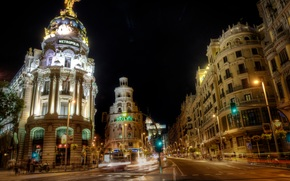 Madrid, Architecture, city, night