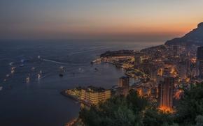 Monaco, Monte Carlo, città, tramonto