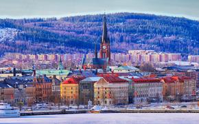 Sundsvall, una città in Svezia, Si trova in un porto naturale sulla costa nord-orientale del Golfo di Botnia 395 km da Stoccolma, panorama