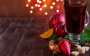 New Year, Christmas, mulled wine, drink, wineglass, Toys, spices, sugar