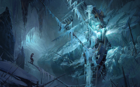 Rise of the Tomb Raider, Yohann Schepacz, Tomb Raider, Lara Croft, ship, sailfish, winter, Art