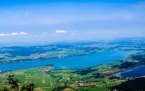 Ostallgau, Germany, Bavaria, Austria, панорама, вид с верхву