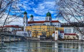 Passau, East Bavaria, Germany, city ​​on three big rivers Danube, Inna and Uelzen