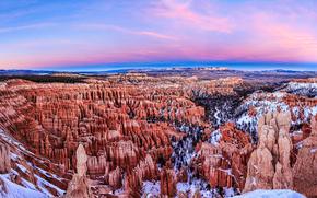 Bryce Canyon Parco Nazione, tramonto, Montagne, Rocce, paesaggio