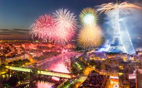 Día de la Bastilla, Fuegos artificiales en París, Francia, París, ciudad, saludo