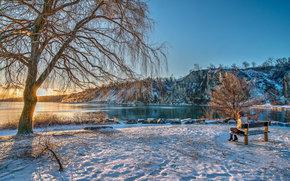 Lake Ontario, New York, sunset, winter, landscape