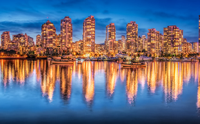 Vancouver, British Columbia, Canada, Burrard Inlet, Vancouver, British Columbia, Canada, Burrard Inlet, city ​​nightlife, building, Yacht, reflection, panorama