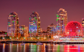 Vancouver, British Columbia, Canada, Burrard Inlet, Vancouver, British Columbia, Canada, Burrard Inlet, city ​​nightlife, embankment, building, Yacht, panorama