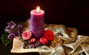 candle, flame, Flowers, Roses, still life