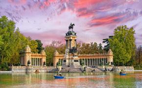 Parco del Retiro, Monumento a Alfonso XII, Madrid, Spagna, Parco del Retiro, Monumento a Alfonso XII, Madrid, Spagna, parco, monumento, lago, Imbarcazione, Photoshop