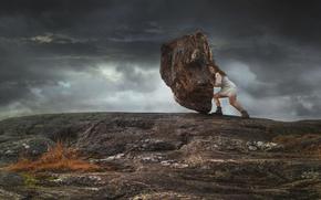 dziewczyna, kamień, otoczak, Hercules