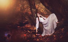 девушка, платье, лес, дерево, ручей, бабочки, осень, настроение