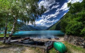 озеро, Puschlav, Швейцария, горы, берег, лодки, пейзаж