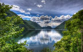 Lago di Lugano, Italia, lago, Montagne, alberi, paesaggio