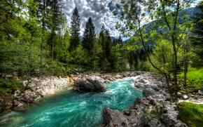 River Soca, Slovenia, forest, trees, landscape