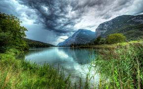 lago, Toblino, Italia, Montañas, paisaje