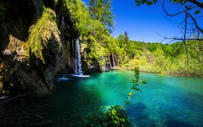 Parque Nacional de Plitvice, Croacia, cascada, paisaje