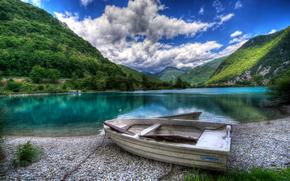 Eslovenia, lago, Montañas, costa, barco, paisaje