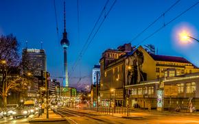 Berlino, città, notte, luci