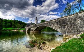 Бохинь, Словения, река, мост, пейзаж