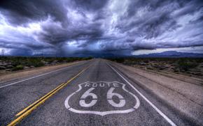 Carretera 66, Galena, Kansas, carretera, NUBES, paisaje