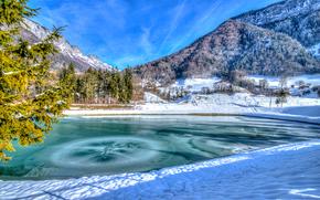 зима, горы, озеро, деревья, пейзаж