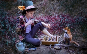 guy, fox, Tea Party, CHESS, hat, nature