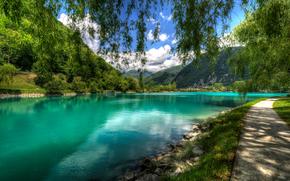 Eslovenia, lago, Montañas, árboles, paisaje