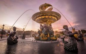Concorde, Place de la Concorde, central area of Paris, Fountain of the Seas