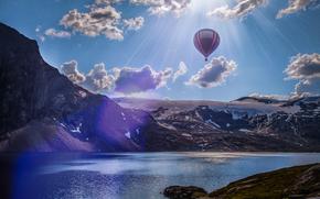 lake, Mountains, balloon, landscape