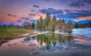 Austria, Lake Walchsee (Walchsee) in Tyrol, sunset, landscape