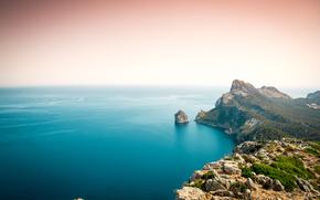 Mallorca, pôr do sol, mar, Rochas, paisagem
