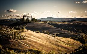 закат, поле, холмы, замок, пейзаж