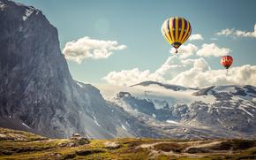 горы, воздушные шары, пейзаж