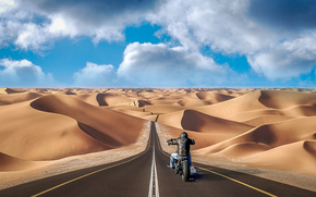 road, sands, motorcyclist